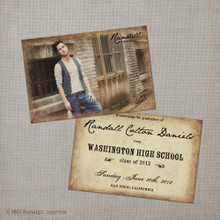 Randall - 4x6  Vintage Graduation Invitation Announcement