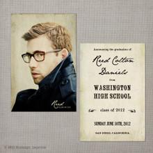 Reed - 4x6  Vintage Graduation Invitation Announcement