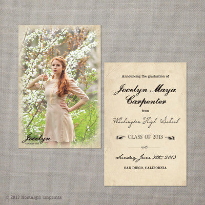 Vintage Graduation Invitation Announcement Card  Jocelyn - 4x6  Vintage Graduation Invitation Announcement