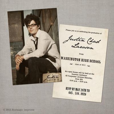 Vintage Graduation Invitation Announcement card Justin - 4x6  Vintage Graduation Invitation Announcement