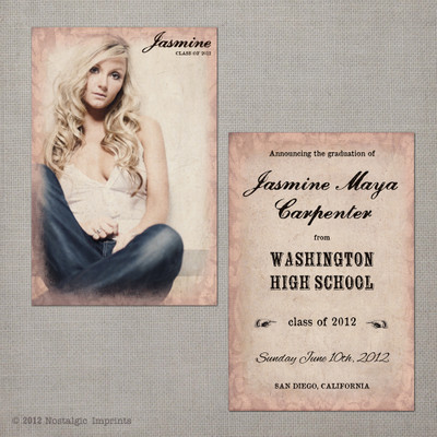 Jasmine - 4x6 Vintage Graduation Invitation Announcement
