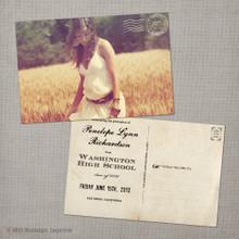 Penelope - 4x6  Vintage Graduation Invitation Announcement