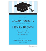 Blue Grad Cap Graduation Invitation