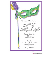Green Mask Mardi Gras Party Invitation