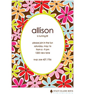 Flower Wow Kids Party Invitation