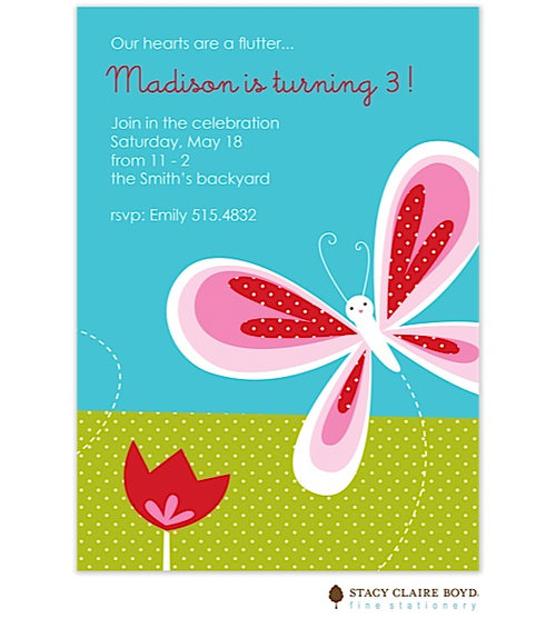 Butterfly Kisses Kids Party Invitation