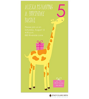 Party Giraffe Pink Kids Party Invitation