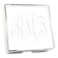 Classic Watercolor Monogram Memo Square with Holder