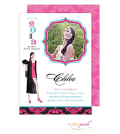 Brunette Diva Grad Digital Photo Invitation