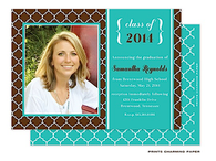 Brown and Turquoise Morrocan Tile Digital Photo Graduation Invitation