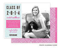 Blue and Pink Crosshatch Digital Photo Graduation Announcement Card