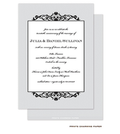 Black Fleurish on Grey Diagonal Stripes Invitation