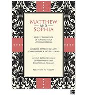 Black damask background wedding invitation