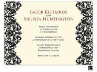 Black damask wedding invitation