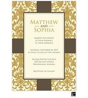Gold damask background wedding invitation