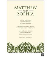 Green damask wedding invitation