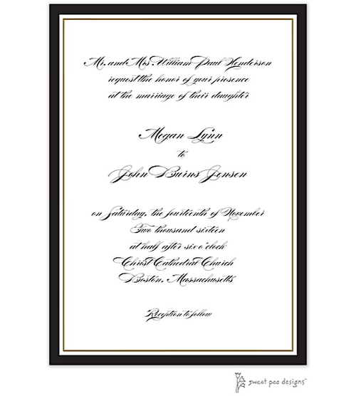Timeless Border Black & Gold Invitation - Party Cat
