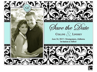 Black and white damask Digital Photo Save The Date