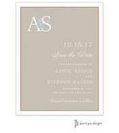 Classic Edge White & Gold On Taupe Invitation