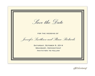 Double line border Save The Date on IVORY