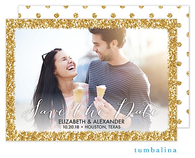 Glitter Frame Digital Photo Save The Date Card