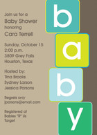 Baby Blocks Blue Custom Invitation
