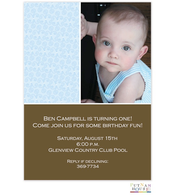First Birthday Blue And Brown Photo Invitation