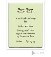 Rocking Horse Linen Lime Invitation