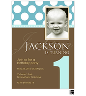 Blue and chocolate birthday digital photo invitation
