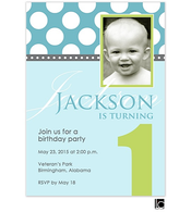 Blue and green birthday digital photo invitation