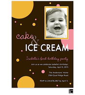 Cake & Ice Cream Girl Birthday Digital Photo Invitation