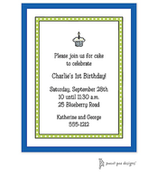 Dotted Border Lime & Blue Edge Invitation