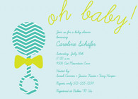 Rattle Oh Baby Blue Custom Invitation