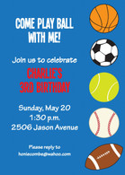 All Sports Blue Custom Invitation