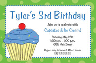 Blue Cupcake Custom Invitation