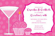 Cupcakes & Cocktails Custom Invitation