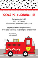 Fire Truck Custom Invitation