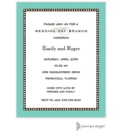 Beaded Border Dark Aqua Invitation