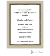 Beaded Border Taupe Invitation