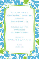 Blue & Green Floral Custom Invitation