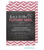 Chevron Glitter Chalkboard Dark Pink Invitation