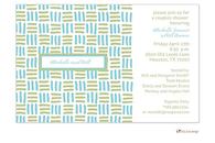 Aqua Blue and Sage Green Blocks Invitation