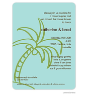 Palm Tree Invitation - Lime on Robin's Egg
