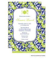 Blue Floral on Green Invitation