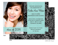 Modern Floral Transparent Band Graduation Digital Photo Announcement