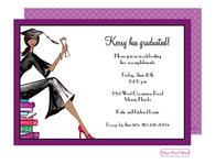 Grad On Books (Multicultural) Invitation