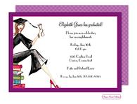 Grad On Books (Brunette) Invitation
