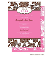 Brown Floral Pattern on White and Pink Invitation
