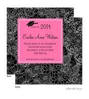 Modern Floral Pink Center Graduation Announcement