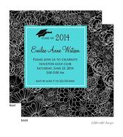 Modern Floral Aqua Center Graduation Announcement